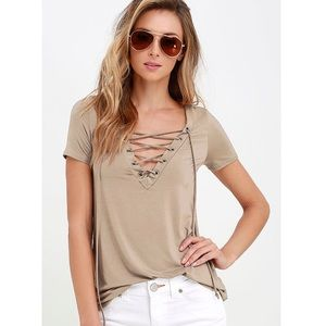 Lulus | 'Enjoy The Ride' Taupe Lace-Up Tee